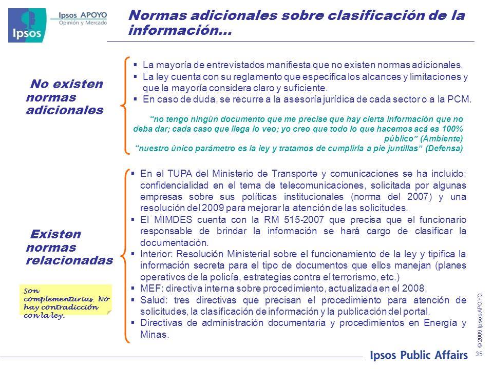 © 2009 Ipsos APOYO 35 Normas adicionales sobre clasificación de la información… La mayoría de entrevistados manifiesta que no existen normas adicional