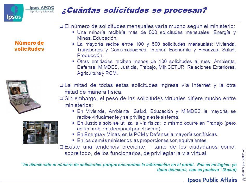 © 2009 Ipsos APOYO 42 ¿Cuántas solicitudes se procesan? Número de solicitudes El número de solicitudes mensuales varía mucho según el ministerio: Una