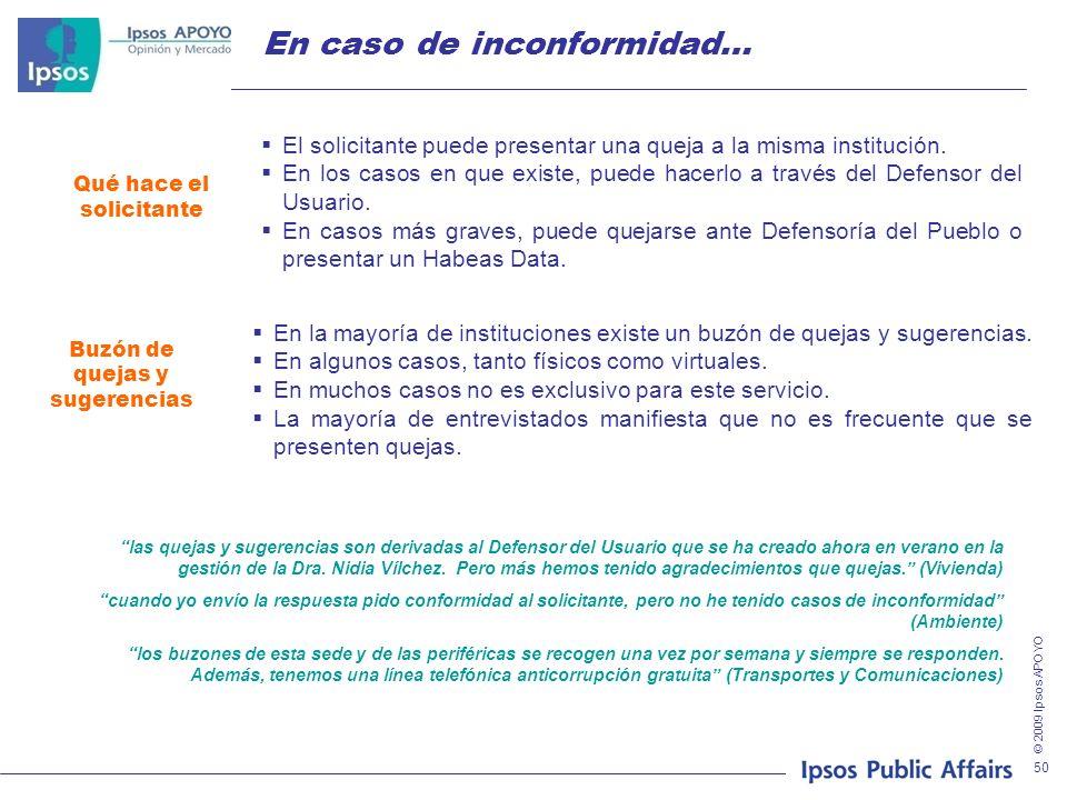 © 2009 Ipsos APOYO 50 En caso de inconformidad… Qué hace el solicitante Buzón de quejas y sugerencias El solicitante puede presentar una queja a la misma institución.