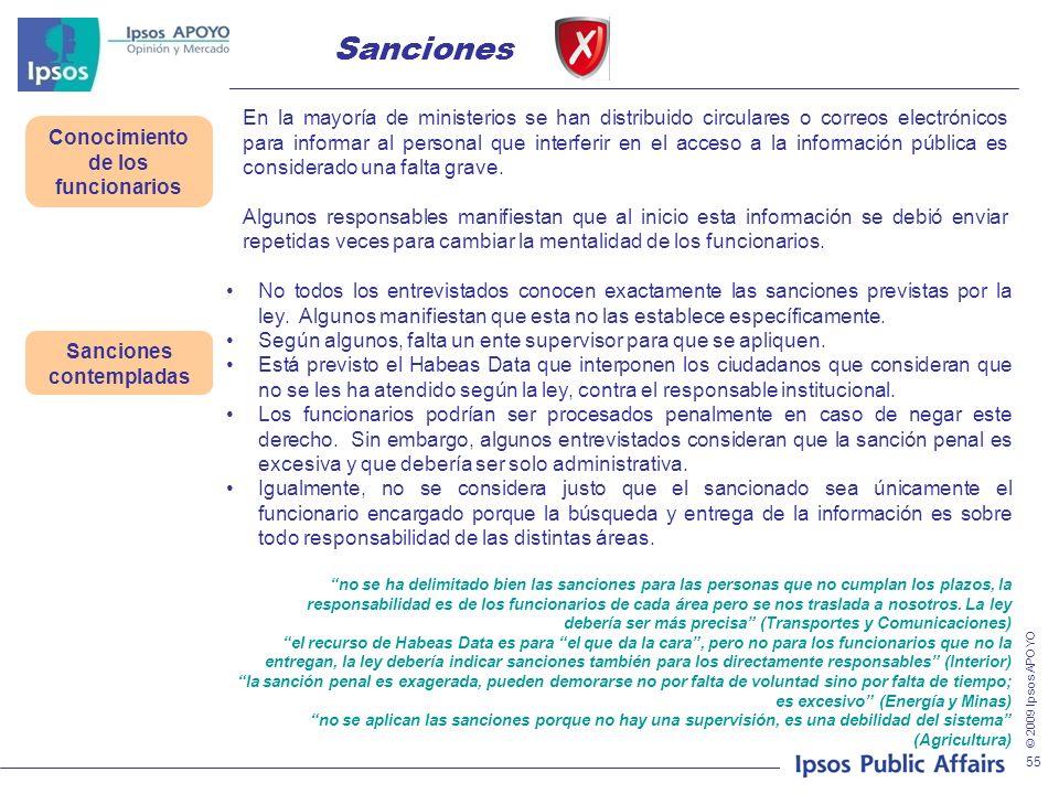 © 2009 Ipsos APOYO 55 En la mayoría de ministerios se han distribuido circulares o correos electrónicos para informar al personal que interferir en el acceso a la información pública es considerado una falta grave.
