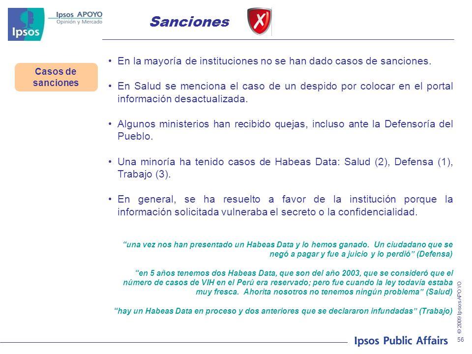 © 2009 Ipsos APOYO 56 Casos de sanciones Sanciones En la mayoría de instituciones no se han dado casos de sanciones. En Salud se menciona el caso de u