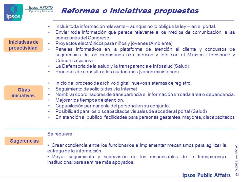 © 2009 Ipsos APOYO 58 Reformas o iniciativas propuestas Iniciativas de proactividad Incluir toda información relevante – aunque no lo obligue la ley –