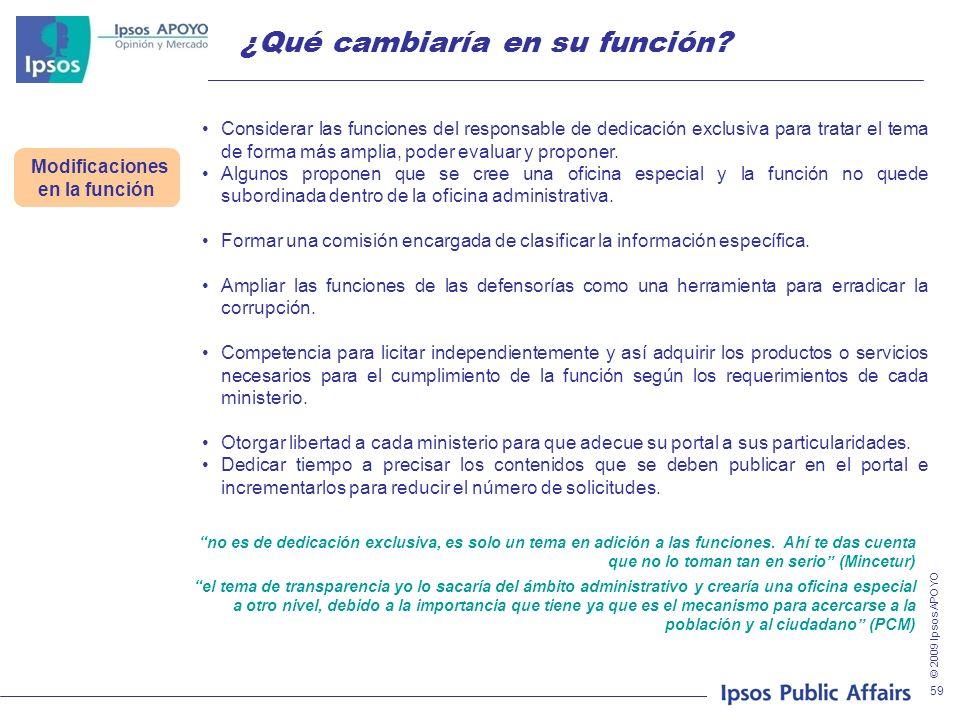 © 2009 Ipsos APOYO 59 ¿Qué cambiaría en su función? Modificaciones en la función Considerar las funciones del responsable de dedicación exclusiva para