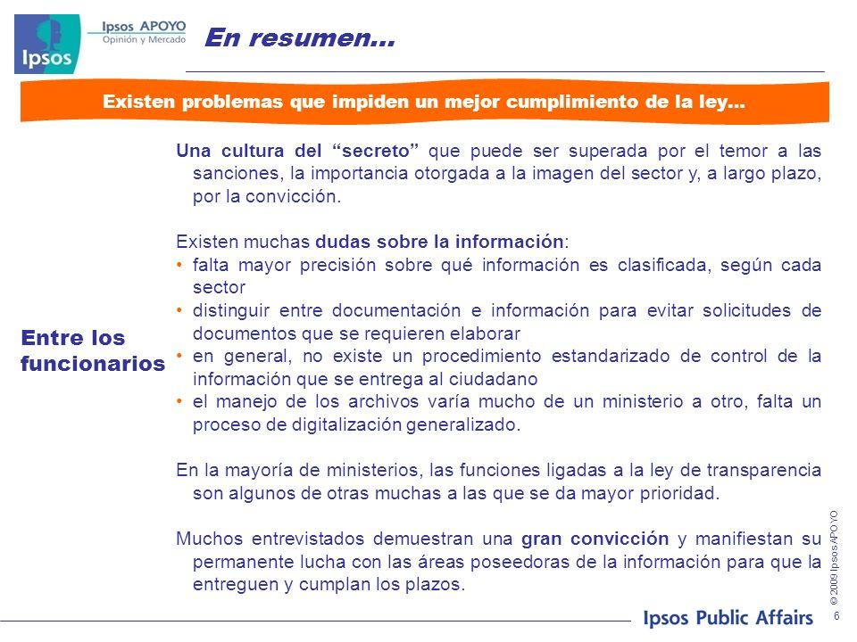Nobodys Unpredictable Principales hallazgos Aplicabilidad de la ley: procedimientos institucionales Setiembre 2009