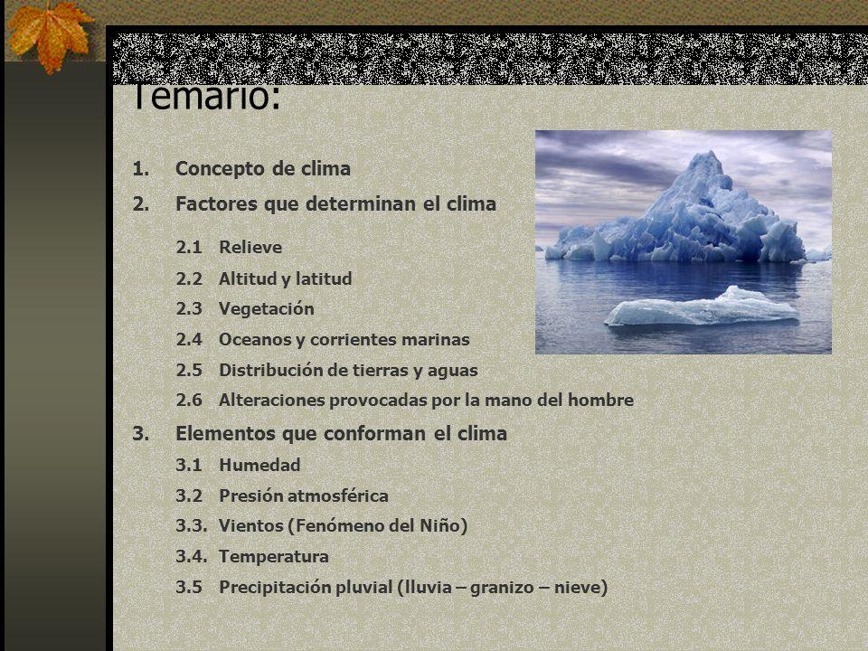 4.Clasificación del clima 4.1Clima polar 4.2Clima templado 4.3Clima subtropical 4.4.Clima tropical 4.5Clima desértico 5.Estaciones 5.1Primavera 5.2Verano 5.3Otoño 5.4Invierno 6.Regiones naturales 6.1Selvas ecuatoriales (bosques húmedos) 6.2Bosques tropicales y sabanas 6.3Regiones mediterráneas 6.4Regiones monzónicas