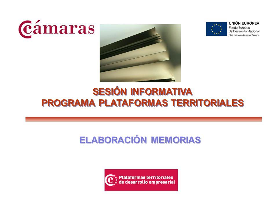 SESIÓN INFORMATIVA PROGRAMA PLATAFORMAS TERRITORIALES SESIÓN INFORMATIVA PROGRAMA PLATAFORMAS TERRITORIALES ABRIL 2009 ELABORACIÓN MEMORIAS