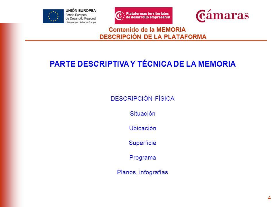 3 Contenido de la MEMORIA DESCRIPCIÓN DE LA PLATAFORMA PARTE DESCRIPTIVA Y TÉCNICA DE LA MEMORIA SERVICIOS PREVISTOS Descripción de la actividad a realizar Procedimiento de prestación de servicios