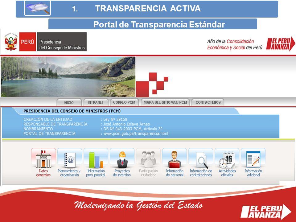 11 Modernizando la Gestión del Estado 1. TRANSPARENCIA ACTIVA Portal de Transparencia Estándar 11