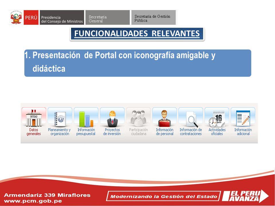 Objetivos del Acuerdo Nacional FUNCIONALIDADES RELEVANTES 1. Presentación de Portal con iconografía amigable y didáctica 12