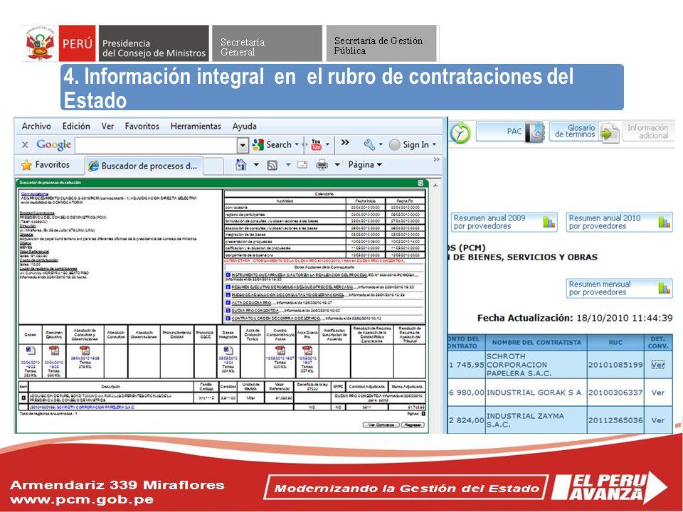 Objetivos del Acuerdo Nacional 4. Información integral en el rubro de contrataciones del Estado 15