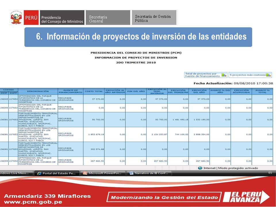 Objetivos del Acuerdo Nacional 6. Información de proyectos de inversión de las entidades 17