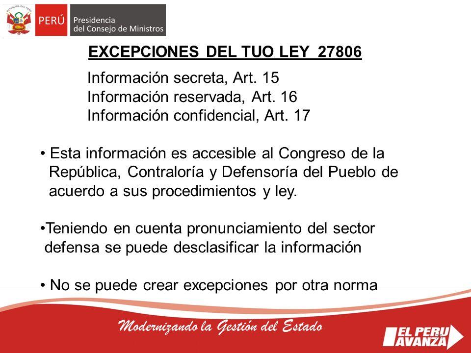 23 Modernizando la Gestión del Estado Información secreta, Art. 15 Información reservada, Art. 16 Información confidencial, Art. 17 Esta información e