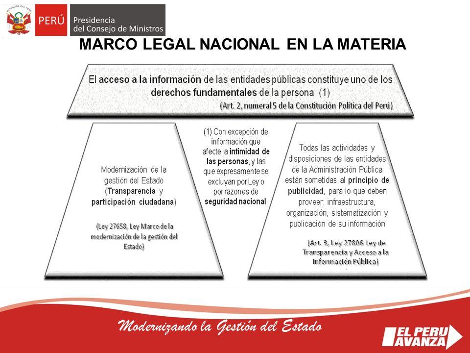4 Modernizando la Gestión del Estado MARCO LEGAL NACIONAL EN LA MATERIA 4