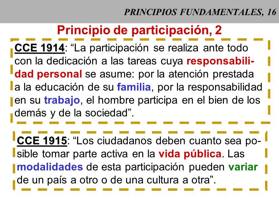 PRINCIPIOS FUNDAMENTALES, 15 Principio de participación, 1 CCE 1913 CCE 1913: La participación es el compro- miso voluntario y generoso de la persona