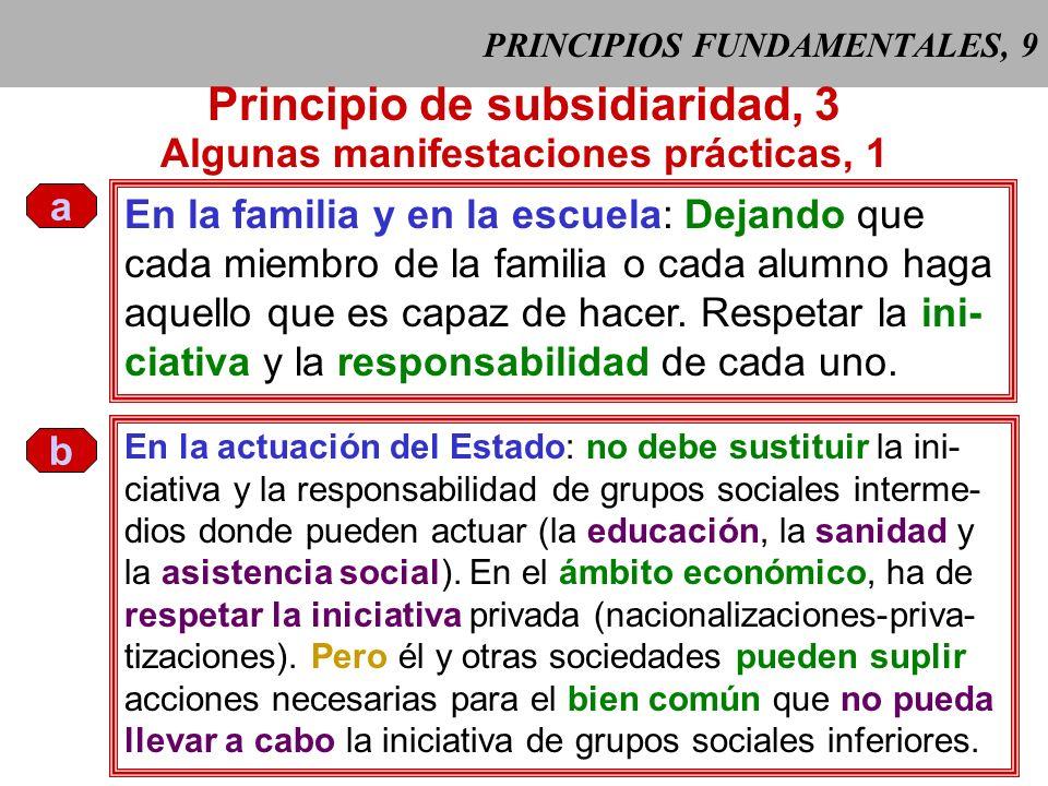 PRINCIPIOS FUNDAMENTALES, 8 Principio de subsidiaridad, 2 Este principio se opone a toda forma de colectivismo. Protege a las perso- nas, a las comuni