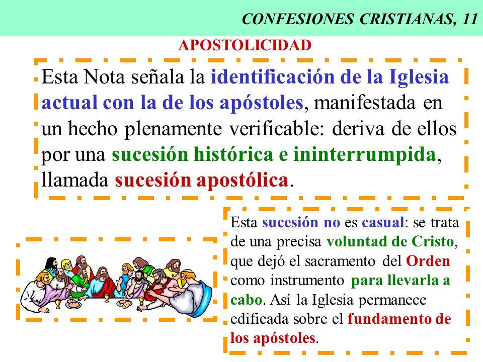CONFESIONES CRISTIANAS, 11 APOSTOLICIDAD Esta Nota señala la identificación de la Iglesia actual con la de los apóstoles, manifestada en un hecho plen