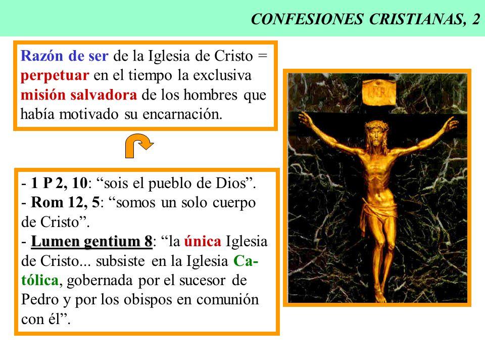 CONFESIONES CRISTIANAS, 2 Razón de ser de la Iglesia de Cristo = perpetuar en el tiempo la exclusiva misión salvadora de los hombres que había motivad