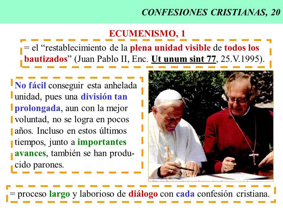 CONFESIONES CRISTIANAS, 20 ECUMENISMO, 1 = el restablecimiento de la plena unidad visible de todos los Ut unum sint 77 bautizados (Juan Pablo II, Enc.