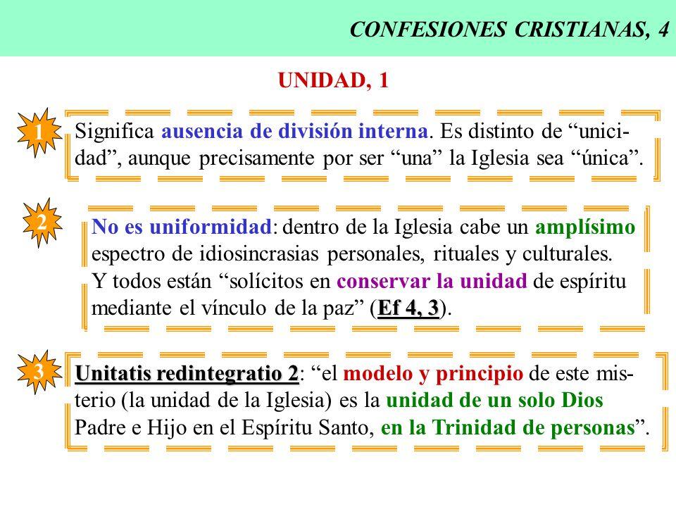 CONFESIONES CRISTIANAS, 4 UNIDAD, 1 Significa ausencia de división interna. Es distinto de unici- dad, aunque precisamente por ser una la Iglesia sea