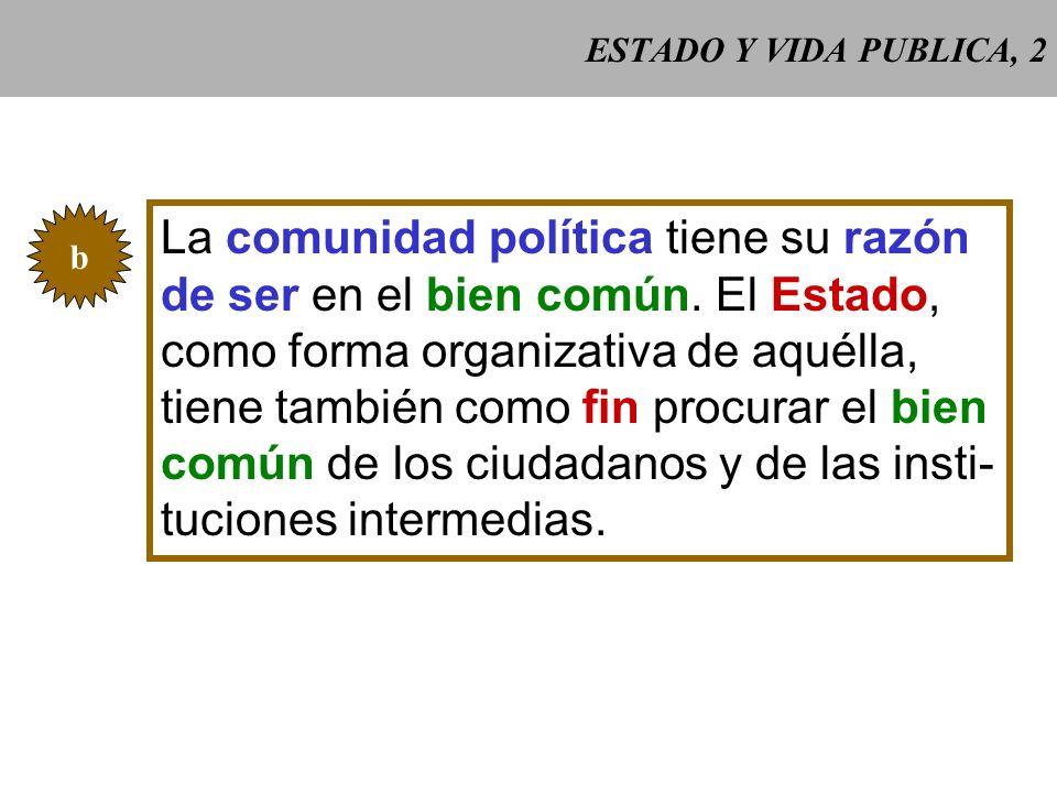 ESTADO Y VIDA PUBLICA, 2 b La comunidad política tiene su razón de ser en el bien común.