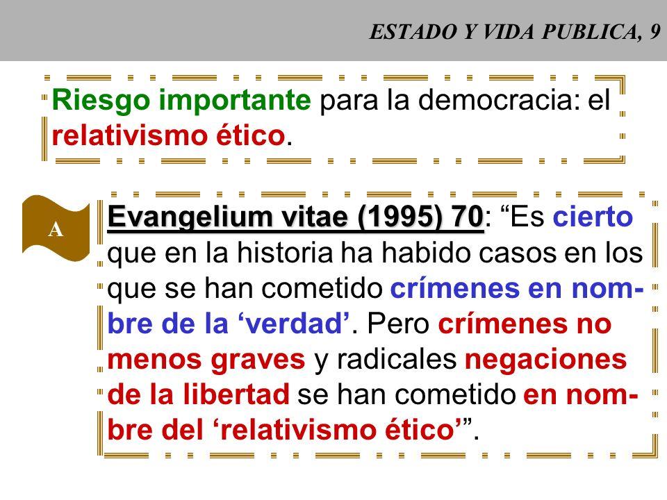 ESTADO Y VIDA PUBLICA, 9 Riesgo importante para la democracia: el relativismo ético.