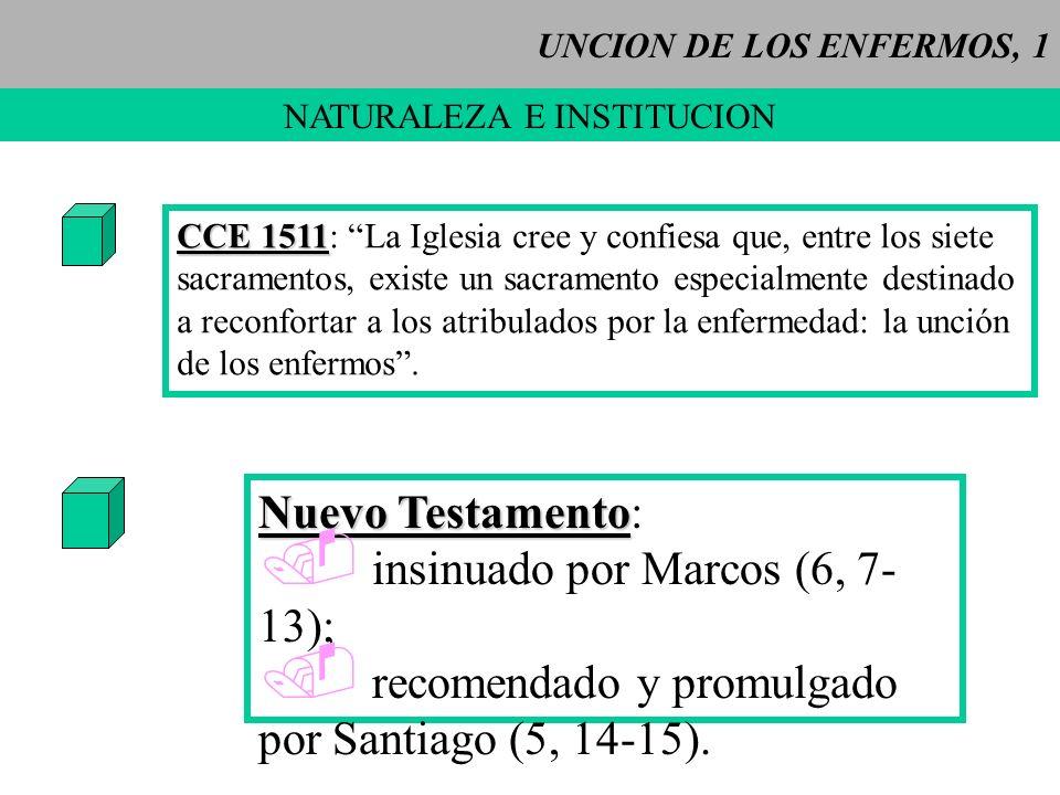 UNCION DE LOS ENFERMOS, 1 NATURALEZA E INSTITUCION CCE 1511 CCE 1511: La Iglesia cree y confiesa que, entre los siete sacramentos, existe un sacrament
