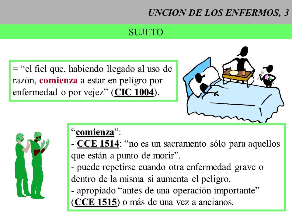 UNCION DE LOS ENFERMOS, 3 SUJETO = el fiel que, habiendo llegado al uso de razón, comienza a estar en peligro por CIC 1004 enfermedad o por vejez (CIC