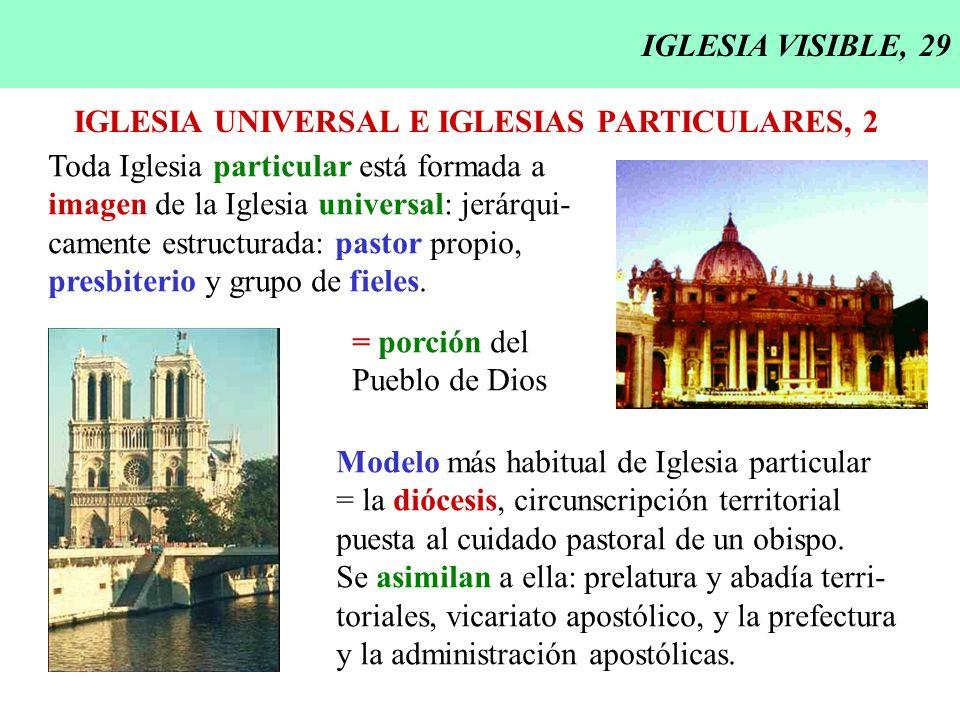 IGLESIA VISIBLE, 29 IGLESIA UNIVERSAL E IGLESIAS PARTICULARES, 2 Toda Iglesia particular está formada a imagen de la Iglesia universal: jerárqui- came