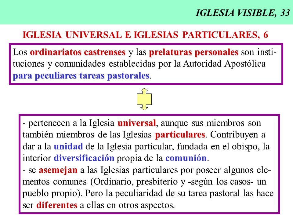 IGLESIA VISIBLE, 33 IGLESIA UNIVERSAL E IGLESIAS PARTICULARES, 6 ordinariatos castrensesprelaturas personales Los ordinariatos castrenses y las prelat