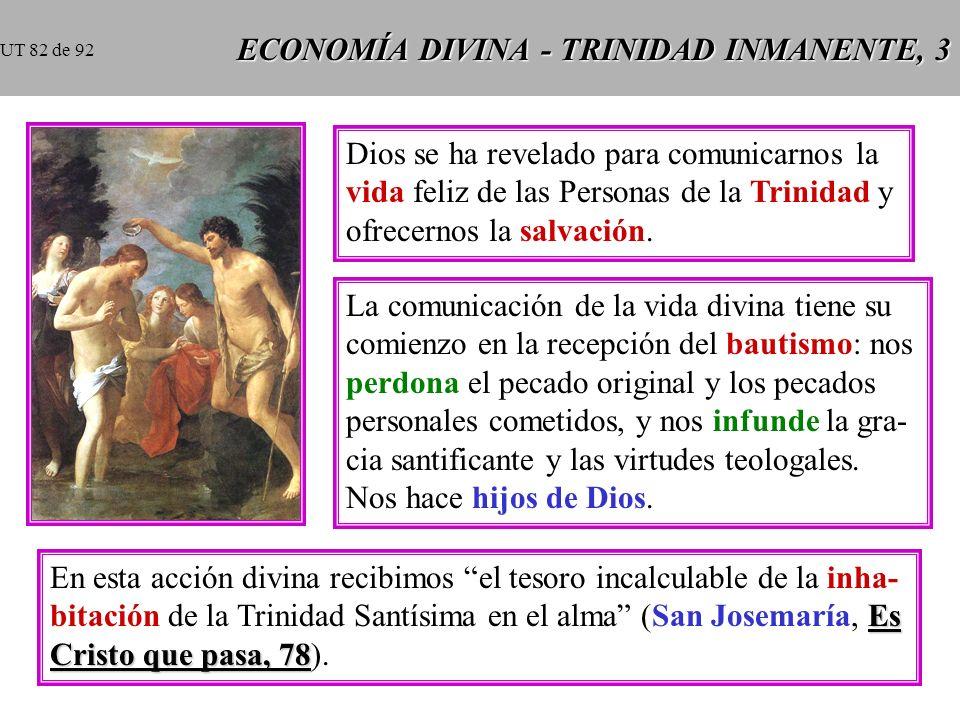 ECONOMÍA DIVINA - TRINIDAD INMANENTE, 3 Dios se ha revelado para comunicarnos la vida feliz de las Personas de la Trinidad y ofrecernos la salvación.