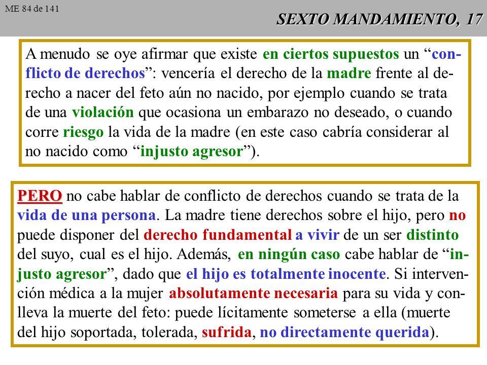 SEXTO MANDAMIENTO, 16 Argumentos complementarios sobre el aborto considerado ya en el quinto mandamiento: Desde el momento de la fecundación, se inici