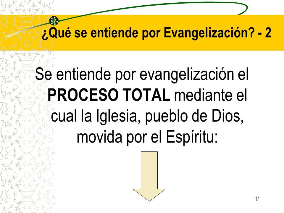 11 ¿Qué se entiende por Evangelización? - 2 Se entiende por evangelización el PROCESO TOTAL mediante el cual la Iglesia, pueblo de Dios, movida por el