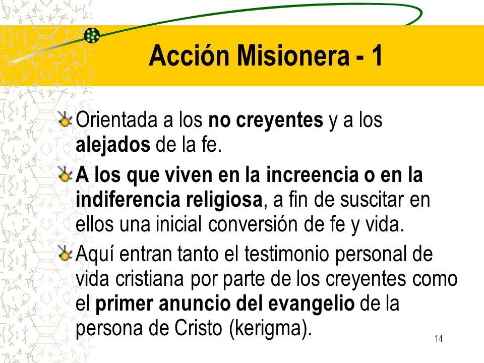 14 Acción Misionera - 1 Orientada a los no creyentes y a los alejados de la fe. A los que viven en la increencia o en la indiferencia religiosa, a fin