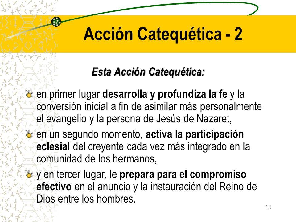 18 Acción Catequética - 2 Esta Acción Catequética: en primer lugar desarrolla y profundiza la fe y la conversión inicial a fin de asimilar más persona