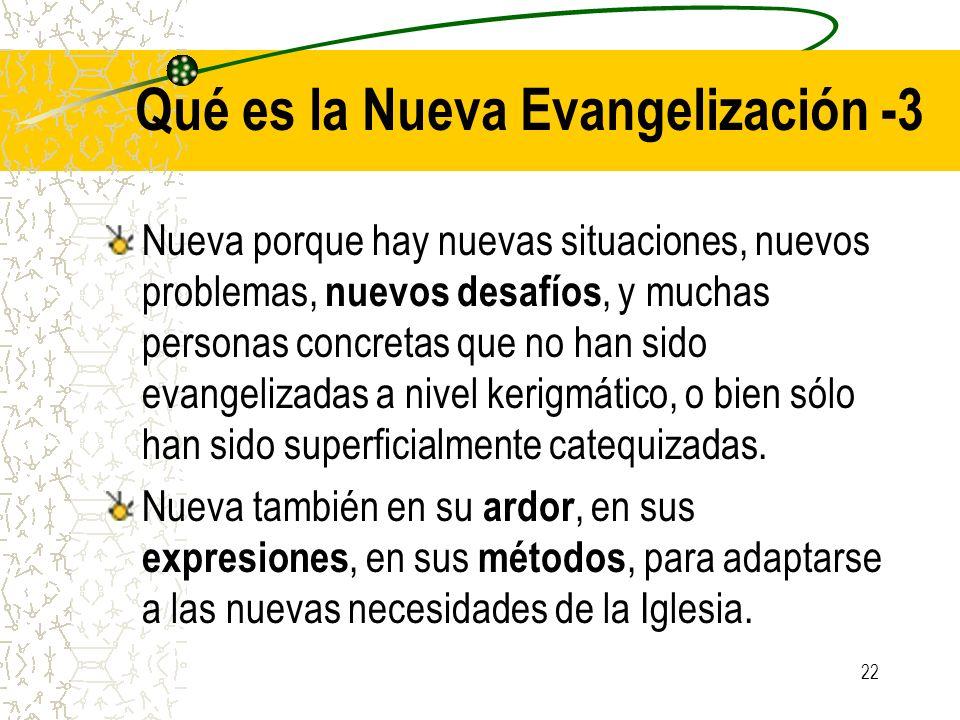 22 Qué es la Nueva Evangelización -3 Nueva porque hay nuevas situaciones, nuevos problemas, nuevos desafíos, y muchas personas concretas que no han si