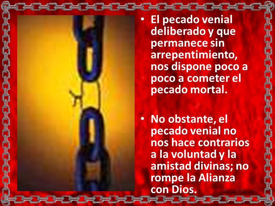 El pecado venial deliberado y que permanece sin arrepentimiento, nos dispone poco a poco a cometer el pecado mortal. No obstante, el pecado venial no