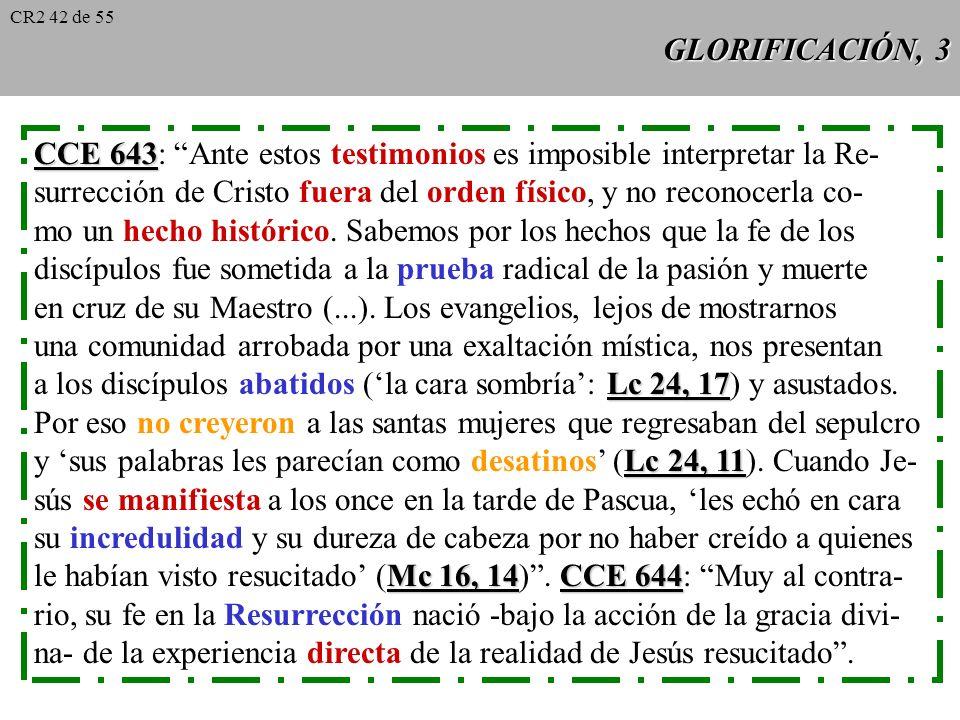 GLORIFICACIÓN, 2 La Escritura insiste de muchas formas en la realidad de la Resu- Lc 24, 34 rrección (ej. Lc 24, 34: ¡El Señor ha resucitado realmente