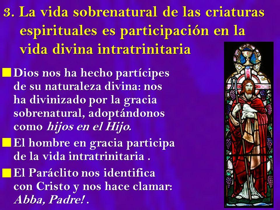 3. La vida sobrenatural de las criaturas espirituales es participación en la vida divina intratrinitaria Dios nos ha hecho partícipes de su naturaleza
