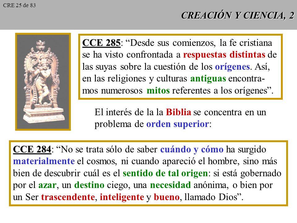 CREACIÓN Y CIENCIA, 1 CCE 282 CCE 282: La catequesis sobre la Creación reviste una importancia capital. Se refiere a los fundamentos mismos de la vida