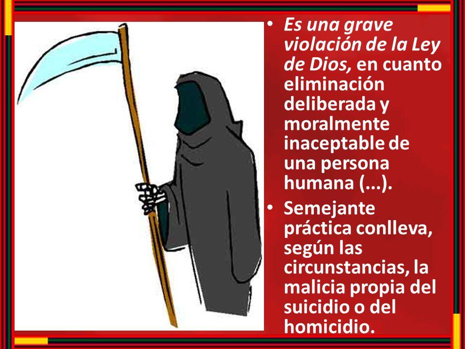 Es una grave violación de la Ley de Dios, en cuanto eliminación deliberada y moralmente inaceptable de una persona humana (...). Semejante práctica co