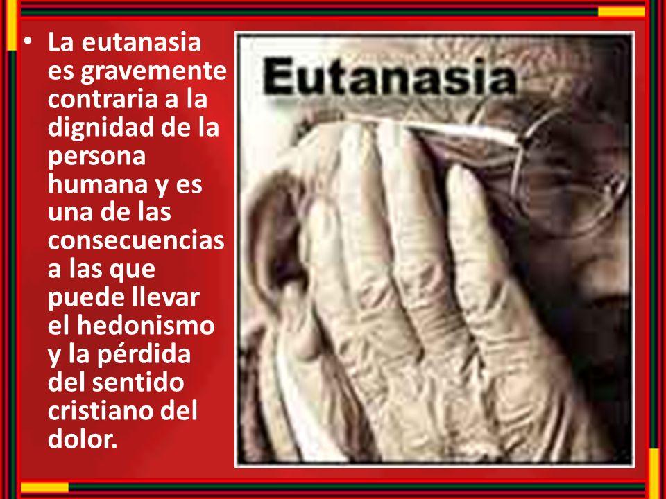 La eutanasia es gravemente contraria a la dignidad de la persona humana y es una de las consecuencias a las que puede llevar el hedonismo y la pérdida