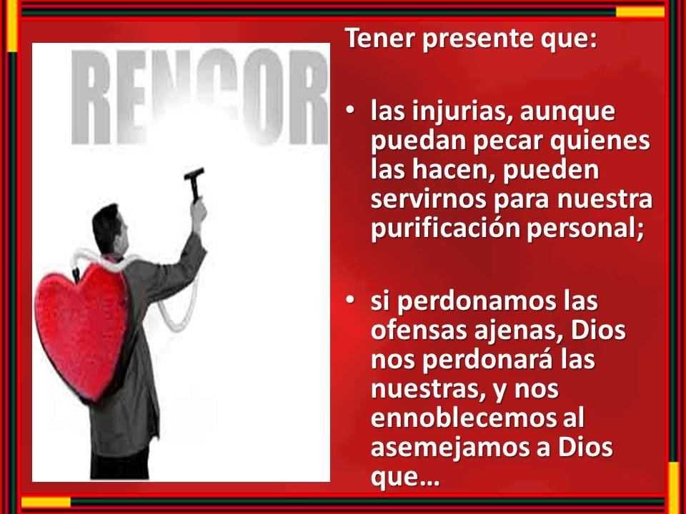 Tener presente que: las injurias, aunque puedan pecar quienes las hacen, pueden servirnos para nuestra purificación personal; las injurias, aunque pue