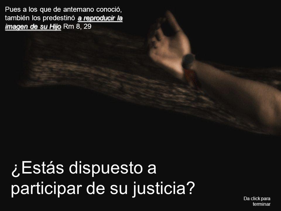 ¿Estás dispuesto a participar de su justicia? Da click para terminar a reproducir la imagen de su Hijo Pues a los que de antemano conoció, también los