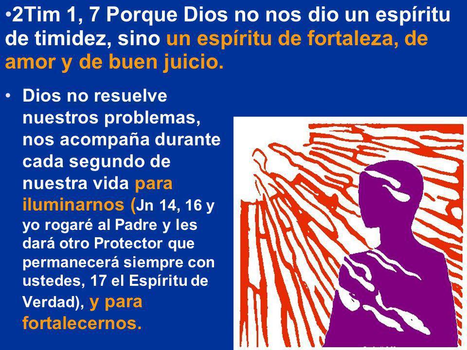 Dios no resuelve nuestros problemas, nos acompaña durante cada segundo de nuestra vida para iluminarnos ( Jn 14, 16 y yo rogaré al Padre y les dará ot