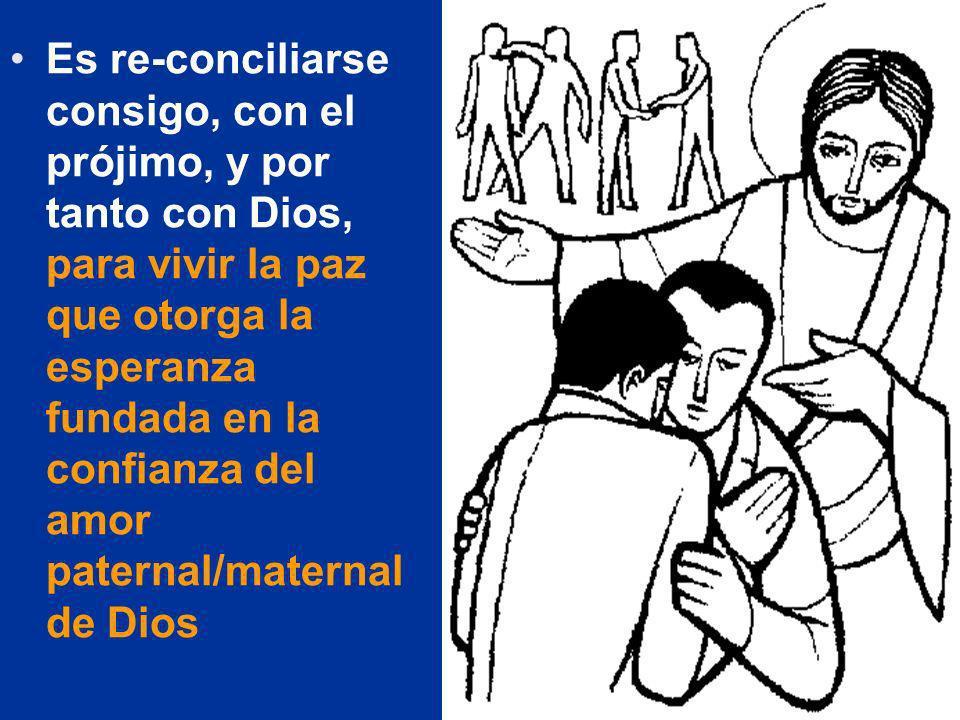 Es re-conciliarse consigo, con el prójimo, y por tanto con Dios, para vivir la paz que otorga la esperanza fundada en la confianza del amor paternal/m