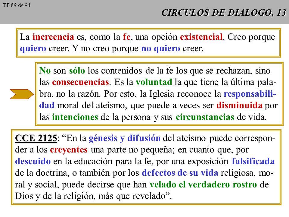 CIRCULOS DE DIALOGO, 13 La increencia es, como la fe, una opción existencial. Creo porque quiero creer. Y no creo porque no quiero creer. No son sólo