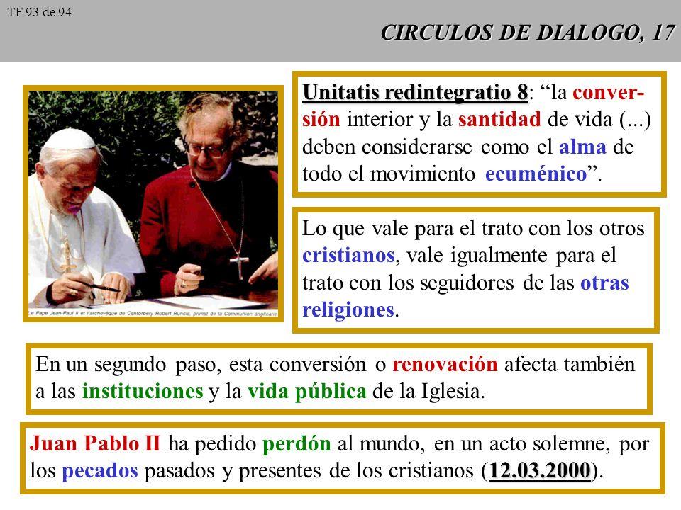 CIRCULOS DE DIALOGO, 17 Unitatis redintegratio 8 Unitatis redintegratio 8: la conver- sión interior y la santidad de vida (...) deben considerarse com