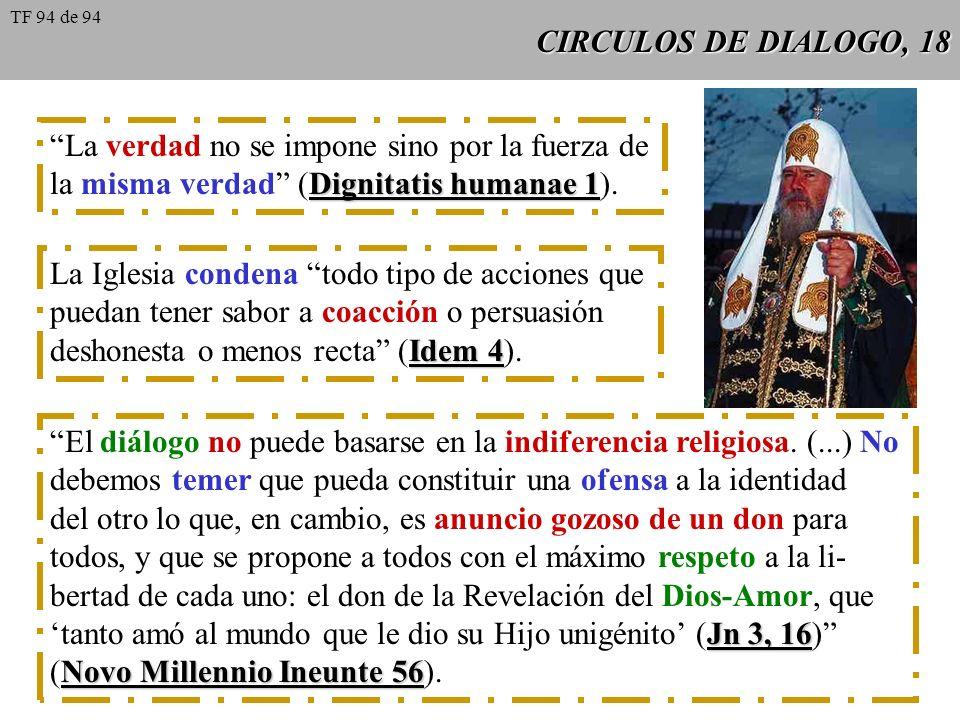 CIRCULOS DE DIALOGO, 18 La verdad no se impone sino por la fuerza de Dignitatis humanae 1 la misma verdad (Dignitatis humanae 1). La Iglesia condena t