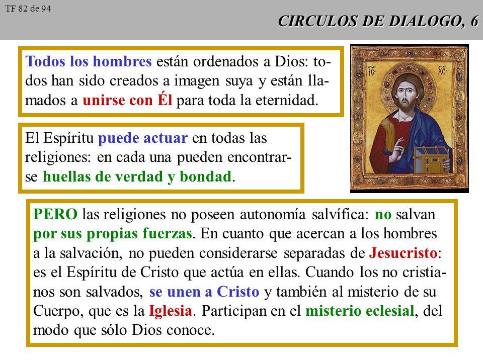 CIRCULOS DE DIALOGO, 6 Todos los hombres están ordenados a Dios: to- dos han sido creados a imagen suya y están lla- mados a unirse con Él para toda l