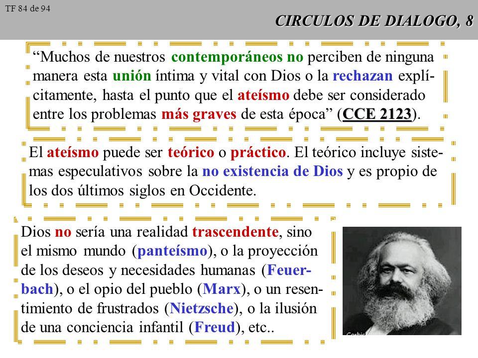 CIRCULOS DE DIALOGO, 8 Muchos de nuestros contemporáneos no perciben de ninguna manera esta unión íntima y vital con Dios o la rechazan explí- citamen